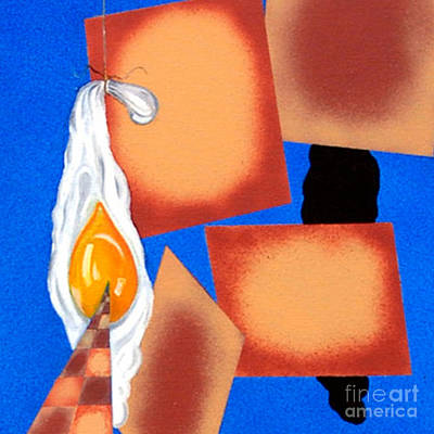 Painting - Cut - Disrupted Egg Path On Blue by James Lavott