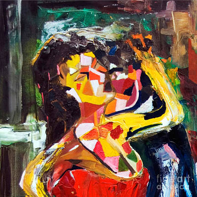 Private Dancer Painting - Cut - Wine Woman And Music by James Lavott