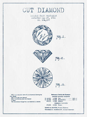 Minerals Digital Art - Cut Diamond Patent From 1966 - Blue Ink by Aged Pixel