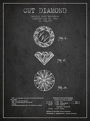 Gemstone Drawing - Cut Diamond Patent From 1966 - Dark by Aged Pixel