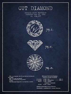 Gemstone Drawing - Cut Diamond Patent From 1966 - Navy Blue by Aged Pixel