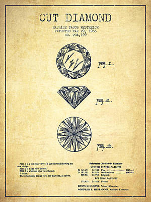 Gemstone Drawing - Cut Diamond Patent From 1966 - Vintage by Aged Pixel