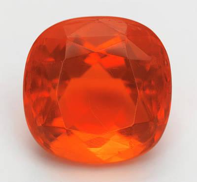 Opal Photograph - Cut Fire Opal Gemstone by Dorling Kindersley/uig