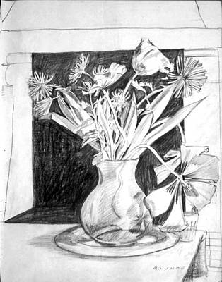 Drawing - Cut Flowers And Fireplace by Mark Lunde