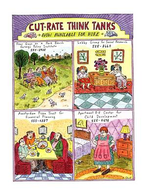 Park Benches Drawing - Cut-rate Think Tanks by Roz Chast