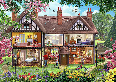 Doll House Painting - Cutaway House Collection Spring by Steve Crisp