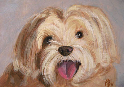 Painting - Cute And Happy Dog Portrait by Robie Benve