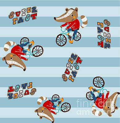 Zoo Wall Art - Digital Art - Cute Animal Riding A Bicycle. Vector by Graphic7