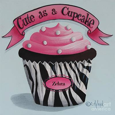 Zebra Painting - Cute As A Cupcake by Catherine Holman