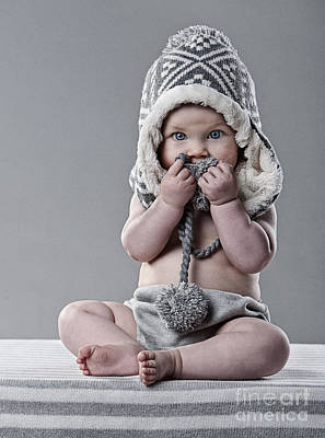 Baby Wool Photograph - Cute Baby In Wool Hat by Justin Paget