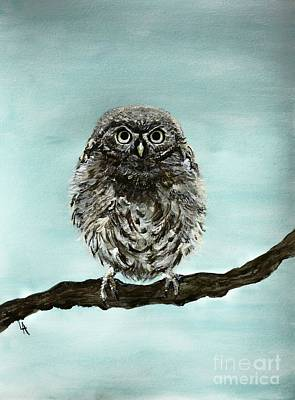 Painting - Cute Baby Owl by Leslie Allen