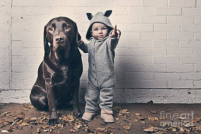 Pet Care Photograph - Cute Baby With Dog by Justin Paget