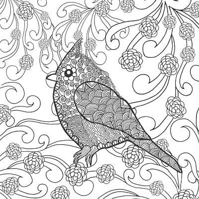 Flower Head Wall Art - Digital Art - Cute Bird In Fantasy Flower Garden by Palomita