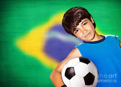 Cute Boy Playing Football Art Print by Anna Om