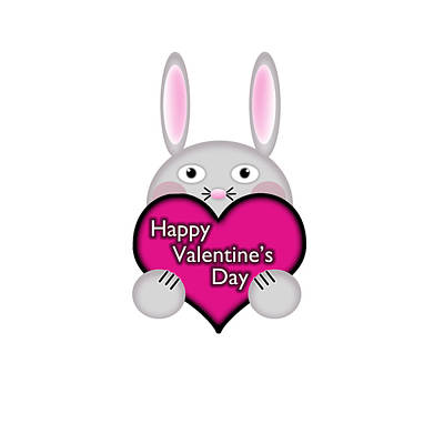 Adorable Digital Art - Cute Bunny With Pink Valentines Day Heart Wishes by Shelley Neff