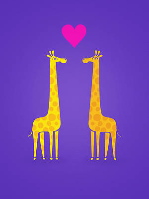 Cute Cartoon Giraffe Couple In Love Purple Edition Print by Philipp Rietz