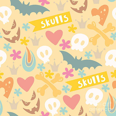 Bone Wall Art - Digital Art - Cute Cartoon Seamless Pattern With by Marushabelle