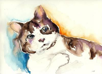 Cute Cat Watercolor Painting Art Print by Tiberiu Soos