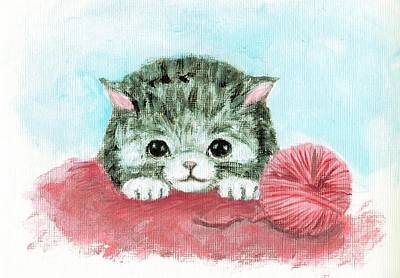 Painting - Cute Cat by Yumi Kudo
