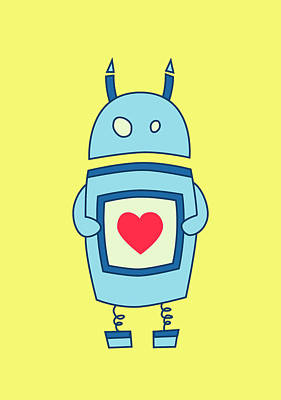 With Love Digital Art - Cute Clumsy Robot With Heart by Boriana Giormova