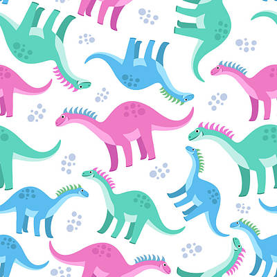 Digital Art - Cute Colorful Seamless Pattern With by Ekaterina Bedoeva