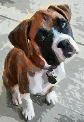 Art Print featuring the painting Cute Dog by Georgi Dimitrov