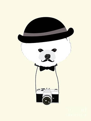 Vintage Camera Digital Art - Cute Dog Photographer With Old Camera by The Cute Design Studio