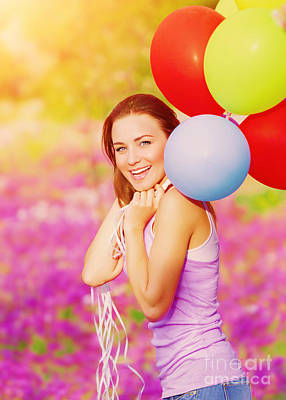 Cute Female With Balloons Art Print by Anna Om