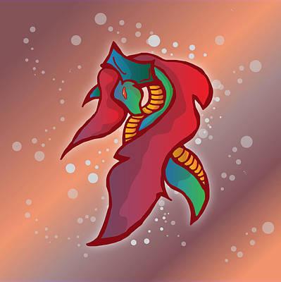 Lovable Digital Art - Cute Fire Dragon  by Mellisa Ward
