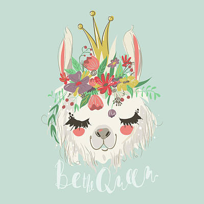 Digital Art - Cute Hand Drawn Llama With Flowers by Anna Babich