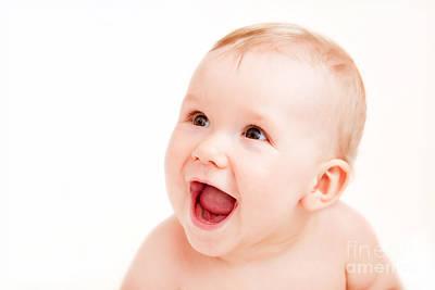 Cute Happy Baby Laughing On White Art Print by Michal Bednarek