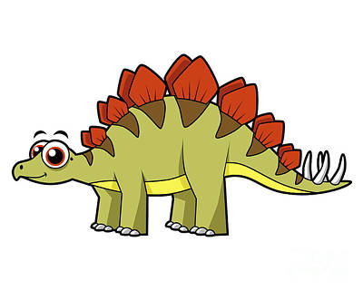 Playful Digital Art - Cute Illustration Of A Stegosaurus by Stocktrek Images