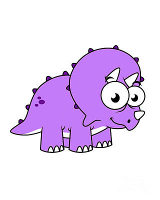 Cute Illustration Of A Triceratops Print by Stocktrek Images