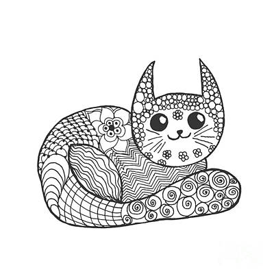 Tribal Wall Art - Digital Art - Cute Kitten. Black White Hand Drawn by Palomita