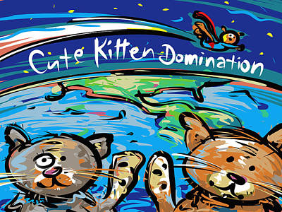 World Leader Drawing - Cute Kitten Domination by Brett LaGue