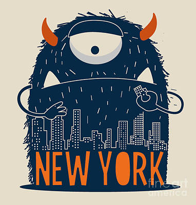 Building Wall Art - Digital Art - Cute Monster Vector Character Design by Braingraph