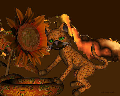 Digital Art - Cute Orange Cat And Sunflower by Judi Suni Hall