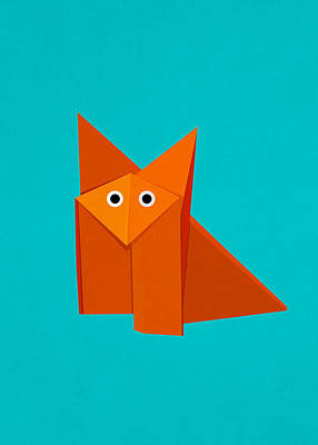 Vivid Digital Art - Cute Origami Fox by Boriana Giormova