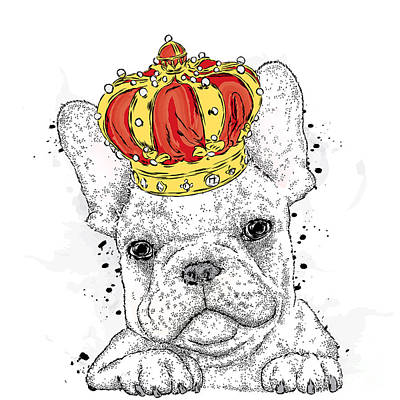 Breed Wall Art - Digital Art - Cute Puppy Wearing A Crown. French by Vitaly Grin