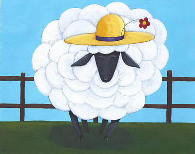 Sheep Drawing - Cute Sheep Nursery Art by Christy Beckwith