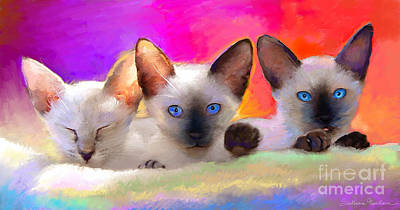 Cat Artwork Painting - Cute Siamese Kittens Cats  by Svetlana Novikova