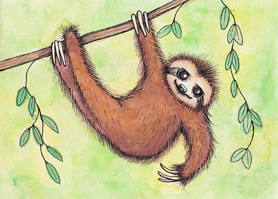 Sloth Art Print by Melissa Rohr Gindling