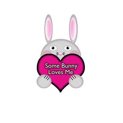Adorable Digital Art - Cute Some Bunny Loves Me Heart by Shelley Neff