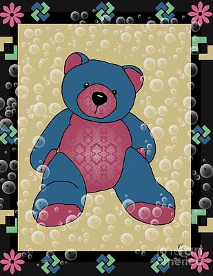 Teddy Bears Mixed Media - Cute Teddy Bear 3 by Karen Sheltrown