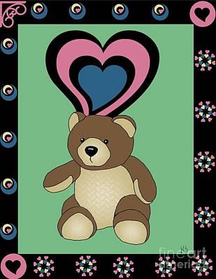 Teddy Bears Mixed Media - Cute Teddy Bear 4 by Karen Sheltrown