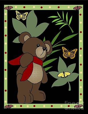 Teddy Bears Mixed Media - Cute Teddy Bear 5 by Karen Sheltrown