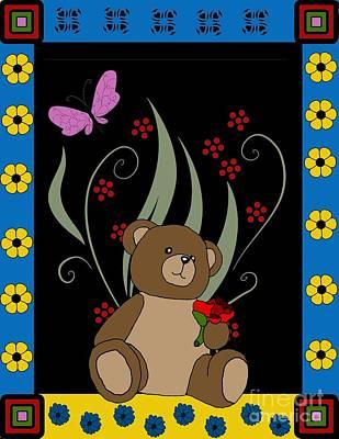 Teddy Bears Mixed Media - Cute Teddy Bear 9 by Karen Sheltrown