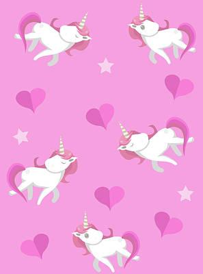 Digital Art - Cute Unicorns Seampless Pattern With by Larysa Amosova