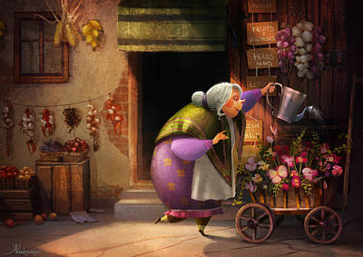 Shop Painting - Cute Village Flower Shop by Kristina Vardazaryan