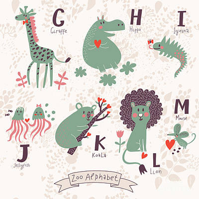 Koala Wall Art - Digital Art - Cute Zoo Alphabet In Vector. G, H, I by Smilewithjul
